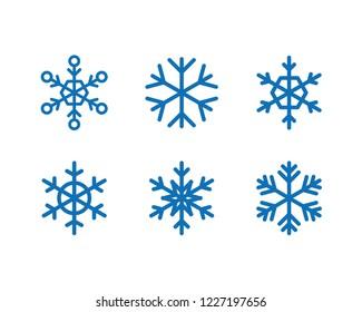 Snowflake vector icon collection, snow winter season symbol, christmas decorative graphic element