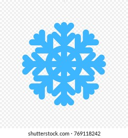 Snowflake Vector Icon Isolated on Light Transparent Background. Simple Blue Snowflake Sign.