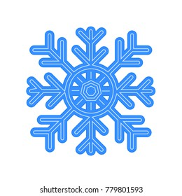 Snowflake Vector Icon Isolated on White Background. Simple Blue Snowflake Sign.