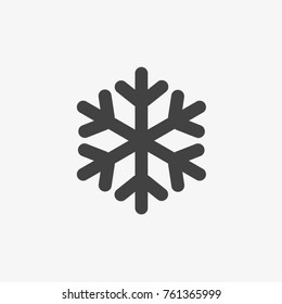 Snowflake vector icon on grey background.