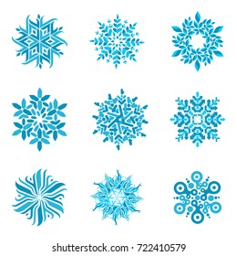 Snowflake vector logo templates isolated on white background. Geometrical abstract snowflake logo, frozen product, Christmas celebration, winter activities logo design.
