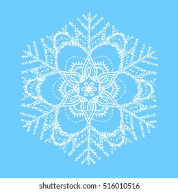 Snowflake vector mandala on blue background. White outline snowflake ornament. New year design.