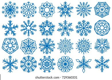 Snowflake Vector Ornaments Set 21. Great for winter and Christmas projects.