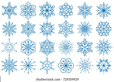 Snowflake Vector Ornaments Set 5. Great for winter and Christmas projects.