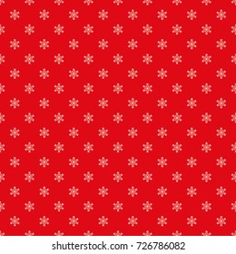 Snowflake vector pattern, seamless texture, red background