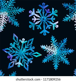 snowflake watercolor seamless background