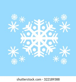 Snowflake White Flat Icon Over Blue Winter Background Vector Illustration