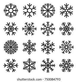 Snowflake Winter Icons Set on White Background. Vector