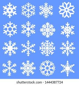 Snowflake winter icons set. Snowflake vector icon. Winter illustration symbol.