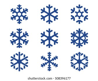 snowflake winter set of blue isolated nine icon silhouette on blue background