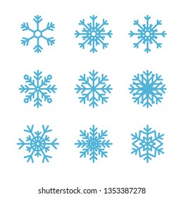Snowflake winter set isolated on white background. Flat snow icons, silhouette for Christmas banner, decor, cards. New year ornament, design.