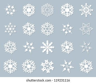 Snowflake winter set vector illustration.