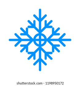 Snowflake winter vector. Blue crystal element.