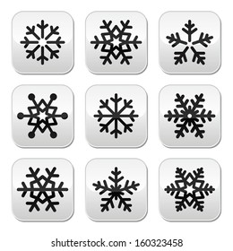 Snowflake winter vector buttons set
