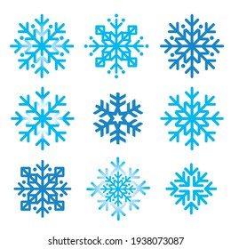 Snowflakes, abstract icons set.  Illustration of nine blue decorative snowflakes inspired of folk art.