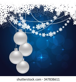 snowflakes background with hanging balls and snow. vector illustration
