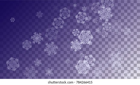 Snowflakes Christmas Background. Element of Design with Snow for a Postcard, Invitation Card, Banner, Flyer.  Vector Falling Snowflakes on a Blue Winter Background