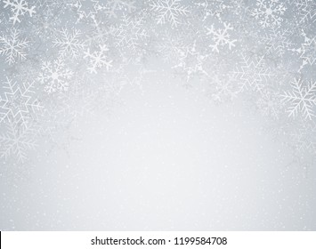 Snowflakes in Christmas festival theme on blur gray gradient background with snow decoration. Illustration vector eps10