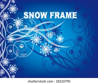 Snowflakes. Christmas and New Year's background is decorated with white pattern on a blue background VECTOR (See Jpeg Also In My Portfolio)