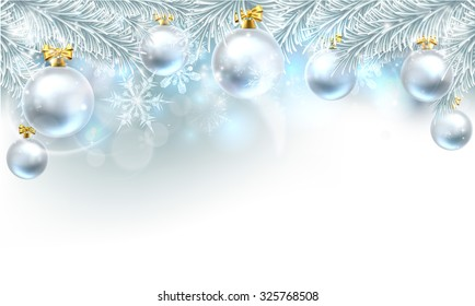 Snowflakes and Christmas tree baubles hanging from a Christmas tree background.
