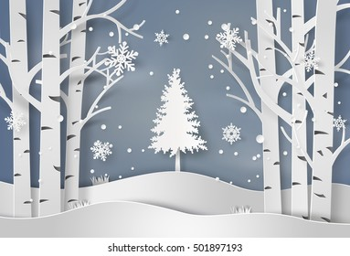 snowflakes and christmas tree.paper art and  digital craft style.