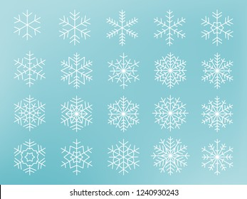 Snowflakes collection. Vector Illustration.
