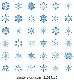 Snowflakes and design elements set.