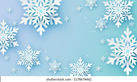 Snowflakes design for winter with place text space. Abstract Paper Craft Snowflakes background. greeting card for winter. paper art design. vector, illustration.