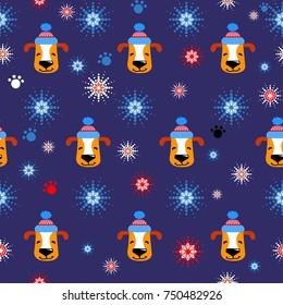 Snowflakes dog winter pattern. Abstract repeated backdrop for child, textile, clothes, wrapping paper. Cartoon wallpaper