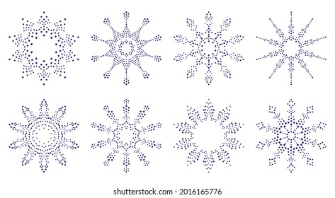 Snowflakes. Dot pattern. Set of Christmas ornaments. Design template for invitations and holiday cards.