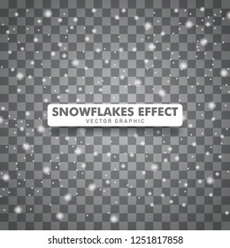 Snowflakes falling down background. Christmas snow background isolated on transparent background. Vector illustration