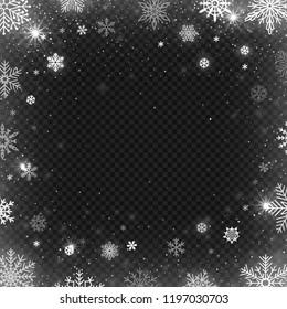 Snowflakes frame. Winter snowed border, frost snowflake and christmas cold blizzard snow greeting card, wishes postcard or snowflakes background, holiday vector design template