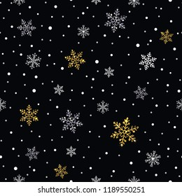 snowflakes gold and silver seamless pattern on a dark background
