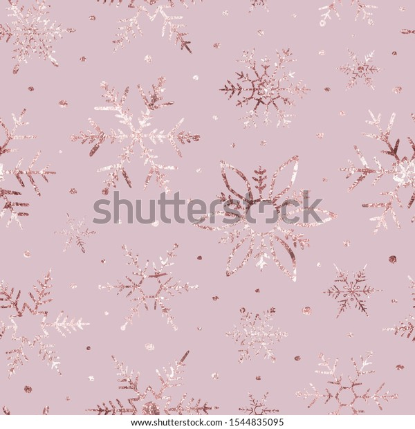 Snowflakes golden glitter. Marble texture rose gold. Winter background. Elegant seamless pattern. Beautiful delicate snow backdrop. Falling random snowflakes for winter design. Scatter snowflakes