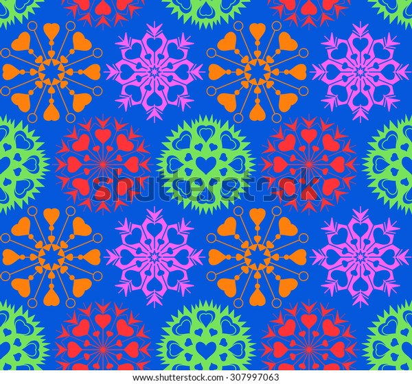 Snowflakes, heart view seamless pattern. Winter, Christmas, Valentine day, birthday texture. Stylized unusual colored ornaments with variegated heart signs on blue background. Vector illustration.