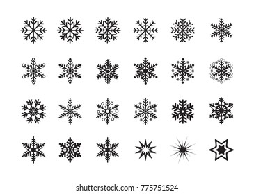Snowflakes ice pieces vector illustration symbols, icons set collection