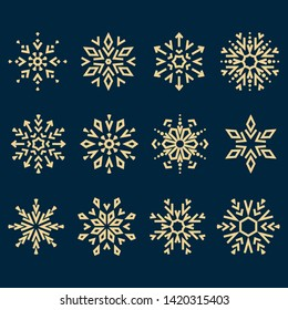 Snowflakes icon collection. Graphic modern dark blue and gold ornament