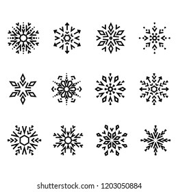 Snowflakes icon collection. Graphic vector modern ornament.
