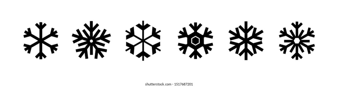 Snowflakes icon collection isolated on white. Vector Christmas and New Year decoration elements.