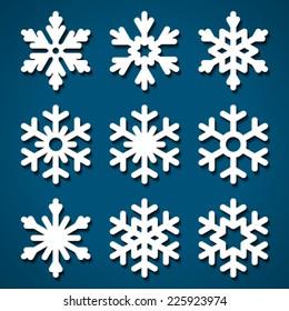 Snowflakes icons set for Christmas design.