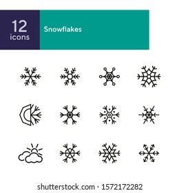 Snowflakes line icon set. Set of line icons on white background. Cold, winter, frozen. Winter concept. Vector illustration can be used for topics like cold, december, winter season