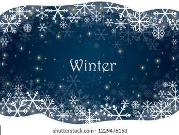 Snowflakes and night sky with star vector background for decoration on all winter festival.