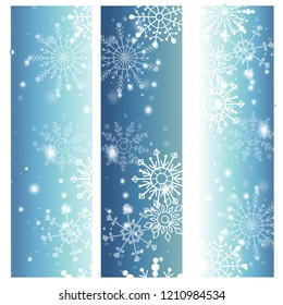 Snowflakes on blue background vector for winter events.