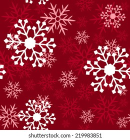 Snowflakes on a red background - Christmas seamless background. Vector illustration.