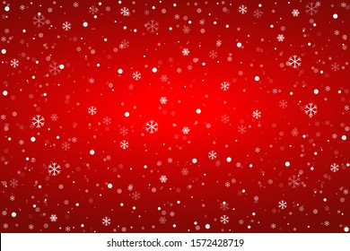 Snowflakes on the red background. Falling snow. Vector illustration. Christmas winter background.