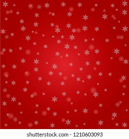 Snowflakes on red festive background. Snowfall Christmas. Snow on New Year s Eve.