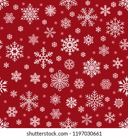 Snowflakes pattern. Christmas falling snowflake on red backdrop. Winter holiday snow seamless wallpaper or backdrop for greeting card, new year decor wrapping vector background