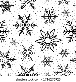 Snowflakes pattern. Seamless pattern snowflake. Winter background. Handdrawn snowflakes. Black and white texture. Repeat snow flakes. Design winter season for prints. Snowflake in doodle style. Vector