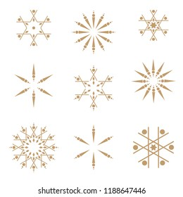 Snowflakes pattern vector. Geometric background with snowflakes shapes in gold and white. Chrismas and new year wrapping paper design.