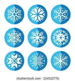 Snowflakes round blue icon set